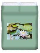 White And Pink Water Lily Duvet Cover