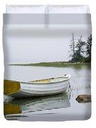 White Boat On A Misty Morning Duvet Cover