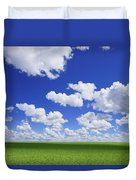 White Clouds In The Sky And Green Meadow Duvet Cover