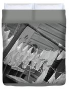 White  Cotton Laundry Blowing In The Wind Duvet Cover