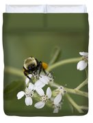 White Crownbeard Wildflowers Pollinated By A Bumble Bee With His Bags Packed Duvet Cover