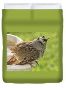 White Crowned Sparrow Sends A Warning Duvet Cover