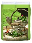 White Crowned Sparrows On The Flower Pot  Duvet Cover