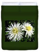 White Dahlias In Autumn  Duvet Cover
