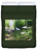 White Ducks On A Ramp Duvet Cover