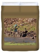 White-faced Ibis Mating Behavior In Early Spring Duvet Cover