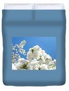 White Floral Blossoms Art Prints Spring Tree Blue Sky Duvet Cover