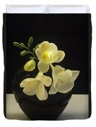 White Freesias In Black Vase Duvet Cover
