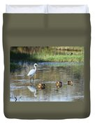 White Heron And Baby Ducks Duvet Cover