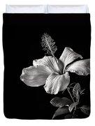 White Hibiscus Inn Black And White Duvet Cover