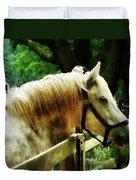 White Horse Closeup Duvet Cover