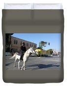White Horse In Bethlehem Street Duvet Cover