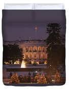 White House, From Elipse At Christmas Duvet Cover