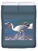 White Ibis On The Shore Duvet Cover