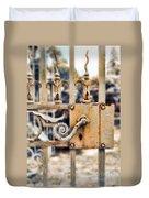 White Iron Gate Details Duvet Cover