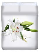 White Lily And Buds Duvet Cover