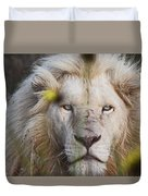 White Lion And Yellow Flowers Duvet Cover