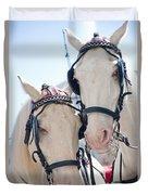 White Ponies Duvet Cover
