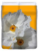 White Poppies On Yellow Duvet Cover