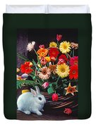 White Rabbit By Basket Of Flowers Duvet Cover