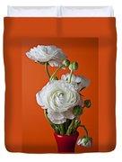 White Ranunculus Close Up In Red Vase Duvet Cover