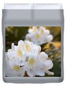 White Rhododendron Bloom Duvet Cover