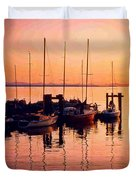 White Rock Sailboats Hdr Duvet Cover