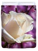 White Rose And Plum Blossoms Duvet Cover