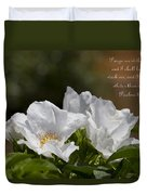 White Roses - Purge Me With Hyssop Duvet Cover