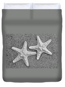 White Starfish In Black And White Duvet Cover