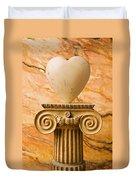 White Stone Heart On Pedestal Duvet Cover