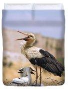 White Stork Ciconia Ciconia, Turkey Duvet Cover by Carson Ganci
