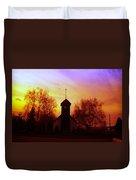 White Swan Church In The Sunset Duvet Cover