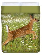 White Tailed Deer Fawn In Field Of Duvet Cover