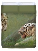 White Tiger Growling At Her Mate Duvet Cover
