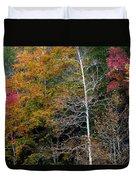 White Tree Fall Colors  Duvet Cover
