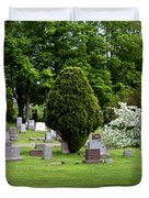 White Tree In Cemetery Duvet Cover