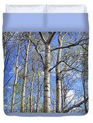 White Trees Against A Blue Sky Duvet Cover