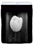 White Tulip On Black Duvet Cover