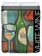 White Wine Poster Duvet Cover