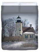 Whitehall Lighthouse In Winter Duvet Cover