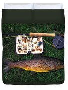 Wild Brown Trout And Fishing Rod Duvet Cover