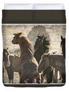 Wild Horse Battle Duvet Cover