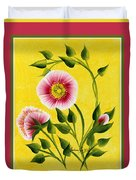 Wild Roses On Yellow With Borders Duvet Cover