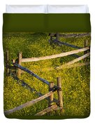 Wildflowers And A Wooden Fence At Duvet Cover