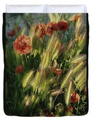 Wildflowers And Grass Tufts In Provence Duvet Cover