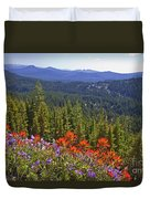 Wildflowers And Mountaintop View Duvet Cover by Ellen Thane and Photo Researchers