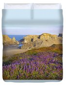 Wildflowers And Rock Formations Along Duvet Cover