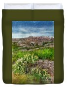Wildflowers In Badlands Duvet Cover