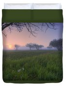 Wildflowers On A Foggy Pasture Duvet Cover